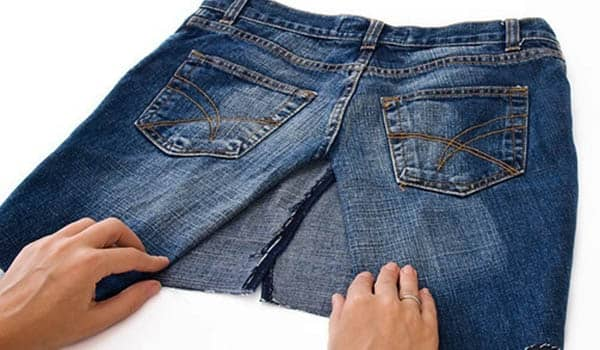 como hacer falda con jeans viejos