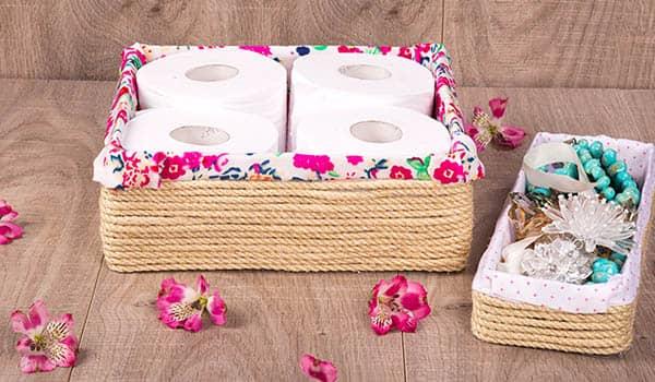 ideas con retazos de tela para decorar el baño